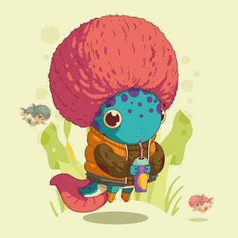 Schattig axolotl-kind met een roze afro-kapsel frisdrank drinken tussen de algen en kleine vissen