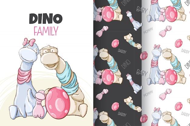 Schattig baby-dino-patroon instellen