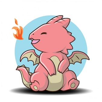 Schattig baby dragon stripfiguur, sprookje cartoon concept.