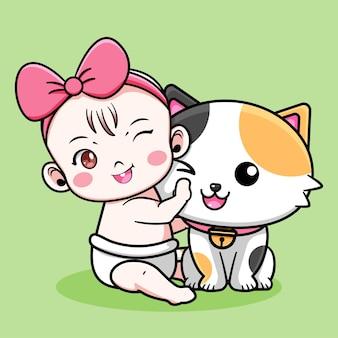 Schattig babyontwerp met kat
