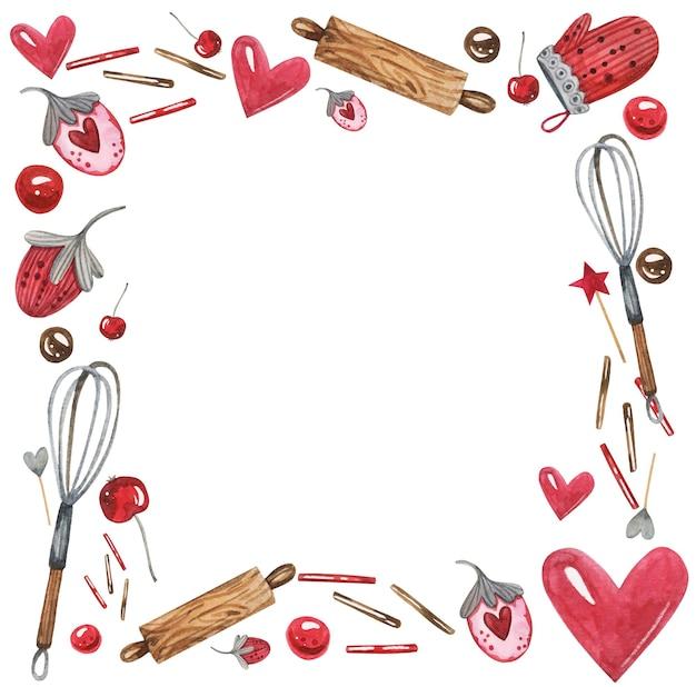 Schattig bakkerij banketbakkerij aquarel frame met kookelementen, aardbeien, bloemblaadjes deegrollen en harten.