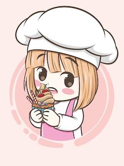 Schattig bakkerij chef-kok meisje met een cupcake - stripfiguur en logo illustratie