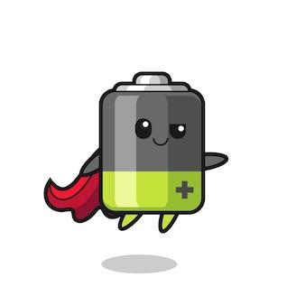 Schattig batterij-superheldkarakter vliegt, schattig stijlontwerp voor t-shirt, sticker, logo-element