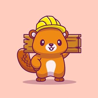 Schattig bever klusjesman holding hout cartoon pictogram illustratie. dierlijke karakter pictogram concept geïsoleerd premium. flat cartoon stijl