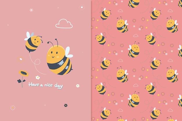 Schattig bijenpatroon