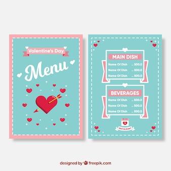 Schattig blauwe valentijn menu concept