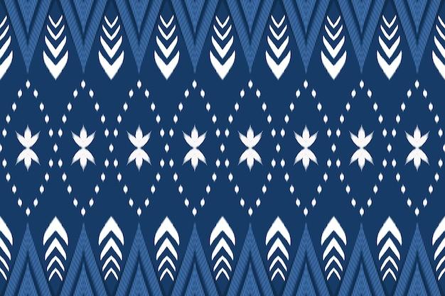 Schattig bloemen marineblauw aziatische etnische geometrische oosterse ikat naadloze traditionele patroon. ontwerp voor achtergrond, tapijt, behangachtergrond, kleding, inwikkeling, batik, stof. borduurstijl. vector