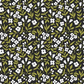 Schattig bloemenpatroon naadloze print witte gestileerde bloemen zwarte achtergrond