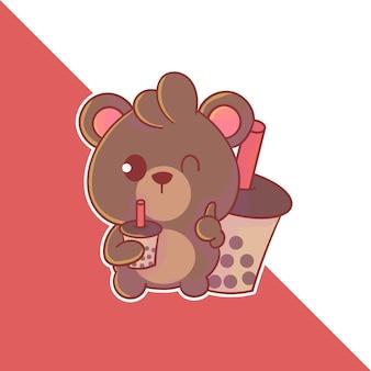 Schattig boba beer mascotte logo. kawaii