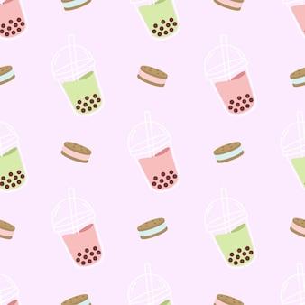 Schattig boba drankje en koekjes koekjes naadloos patroon