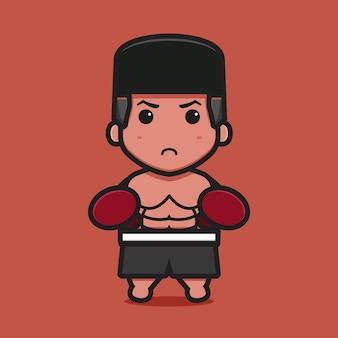 Schattig bokser karakter met dubbele punch pose cartoon pictogram vectorillustratie. boksen sport pictogram concept geïsoleerde vector. platte cartoonstijl