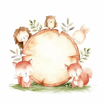 Schattig bos dier met houten teken sjabloon aquarel illustratie