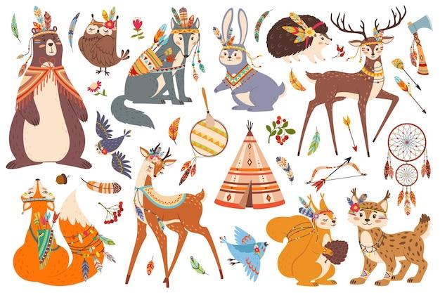 Schattig bos tribal dieren boho stam bos vos uil wolf beer herten american indian vector set