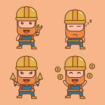 Schattig bouwer kawaii mascotte karakter
