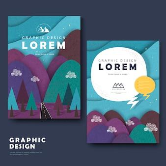 Schattig brochuresjabloonontwerp met bergen eromheen Premium Vector