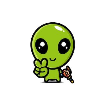 Schattig buitenaards mascotte karakter ontwerp