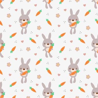 Schattig bunny houden wortel naadloze patroon.