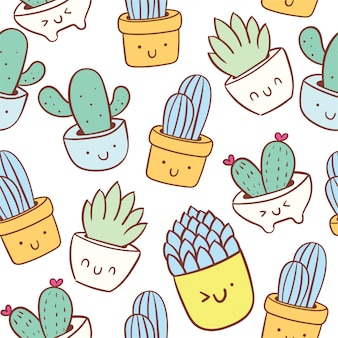 Schattig cactus doodle cartoon naadloze patroon