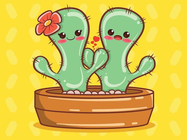 Schattig cactus paar stripfiguur en illustratie.