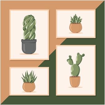 Schattig cactuscollectie posterontwerp