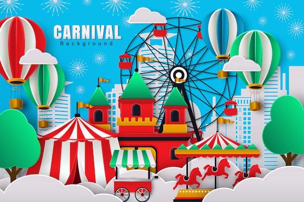 Schattig carnaval achtergrond met papier gesneden ontwerpstijl
