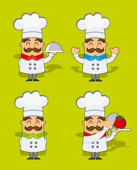 Schattig cartoon chef-kok over groene achtergrond vectorillustratie