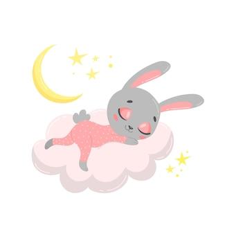 Schattig cartoon konijntje slapen op een wolk.
