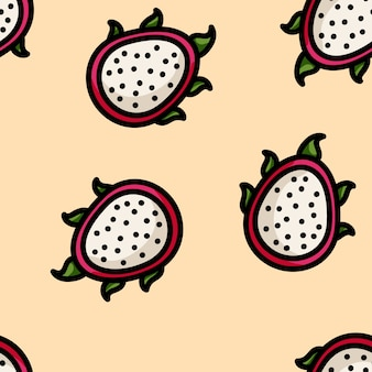 Schattig cartoon platte draak fruit naadloze patroon