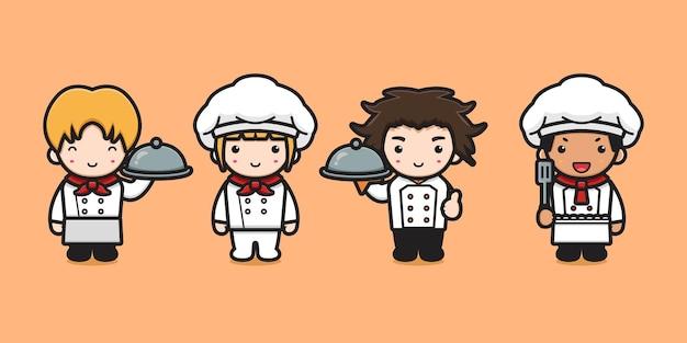 Schattig chef-kok karakter koken cartoon pictogram illustratie chef-kok koken pictogram concept platte cartoon stijl Premium Vector