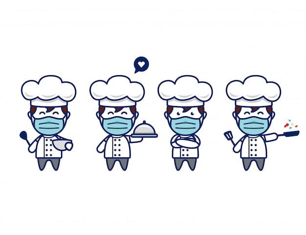 Schattig chef-kok karakter met gezichtsmasker en koksmuts in chibi stijl mascotte pose set