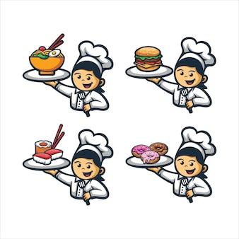Schattig chef-kok logo