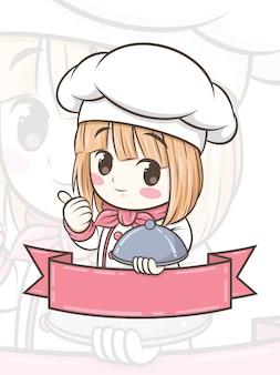 Schattig chef-kok meisje stripfiguur