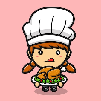 Schattig chef-kokmeisje dat gefrituurde kipcartoon maakt