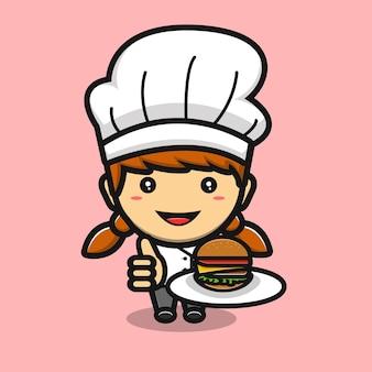 Schattig chef-kokmeisje dat lekkere hamburgercartoon maakt