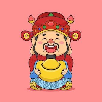 Schattig chinees nieuwjaar fortuin god met geld