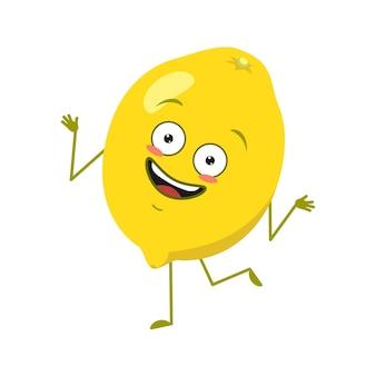 Schattig citroenkarakter vrolijk met emoties dansen, armen en benen