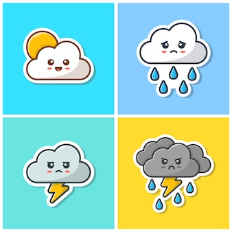 Schattig cloud emoticon collectie icoon. kawaii cloud emoticon sticker, weerpictogram geïsoleerd