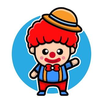 Schattig clown karakter vector ontwerp