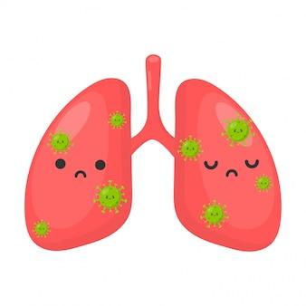 Schattig coronavirus of covid 19 in menselijke longen. pandemie geïsoleerd op een witte achtergrond.