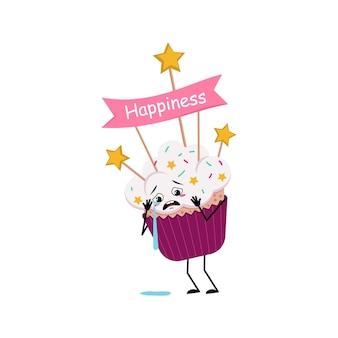 Schattig cupcake karakter met huilen en tranen emoties, droevig gezicht, armen en benen. zoet eten met versieringen, feestelijk dessert