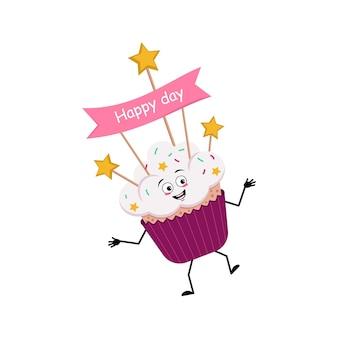 Schattig cupcake karakter met vrolijke emoties glimlach gezicht dansen gelukkige ogen armen en benen zoet voedsel w...