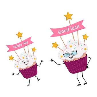 Schattig cupcake karakter met vrolijke emoties zoet eten met decoraties feestelijk dessert