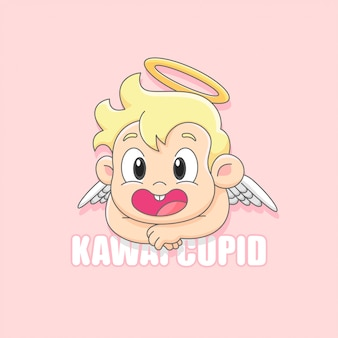 Schattig cupid engel lachende cartoon logo