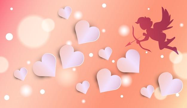 Schattig cupido silhouet over gloeiende harten valentijnsdag achtergrond