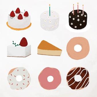 Schattig dessert element vector set voedsel tekening Gratis Vector