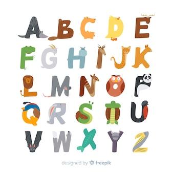 Schattig dierlijk alfabet plat ontwerp