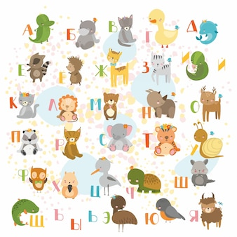 Schattig dierlijk alfabet