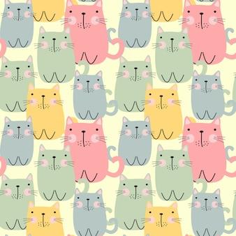 Schattig dik katten naadloos patroon