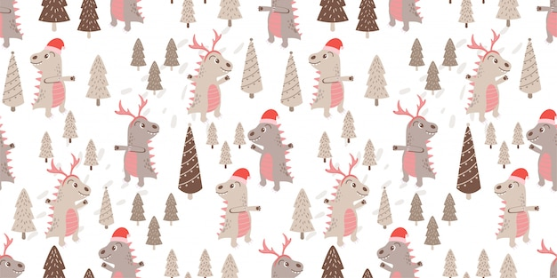 Schattig dino dier naadloze patroon doodle winter thema
