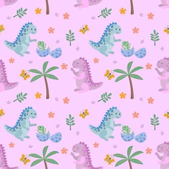 Schattig dinosaurus en vlinder naadloze patroon.